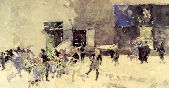 Fortuny -Contrastes de la vida  Acuarela 1872