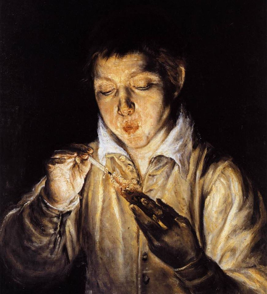 El Greco -A boy blowing on a ember to light a candel 1570-72  Museo Capodimonte Naples