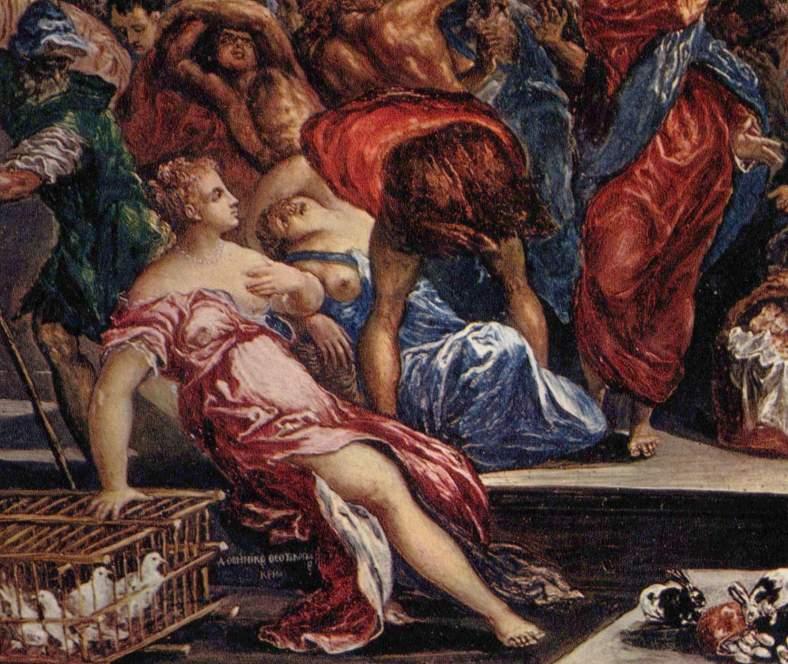 El Greco -Expulsión de los mercaderes del templo -detalle