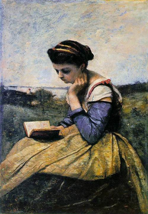 corot-woman-reading-in-a-landscape-1869