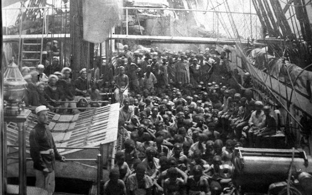 Rare Photo of African Slaves aboard ship