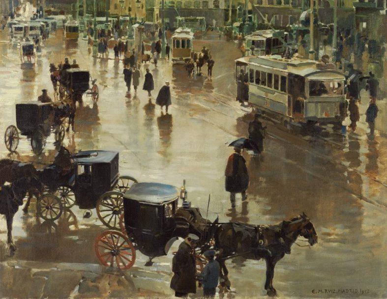 Enrique Martínez Cubells -Tranvias en la Puerta del Sol 1902