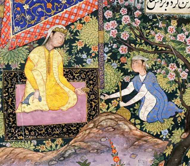 Bizhan receives an invitation through Manizheh's nurse, folio from the Shahnameh of Shah Tahmasp detail