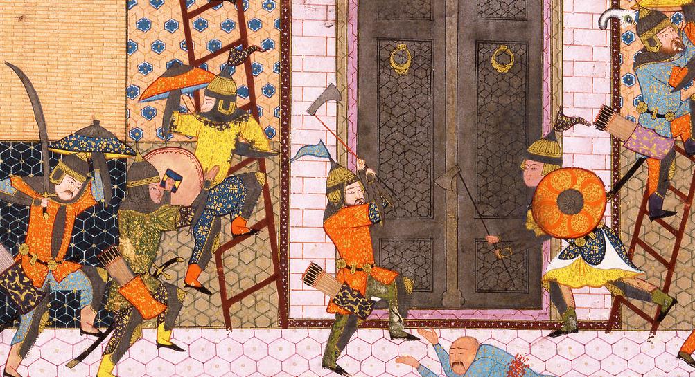 Persian Miniature from a copy of Firdawsi's Shah-nama. Shah Anushirvan Captures the Fortress of Saqila Shiraz s. XVI.png
