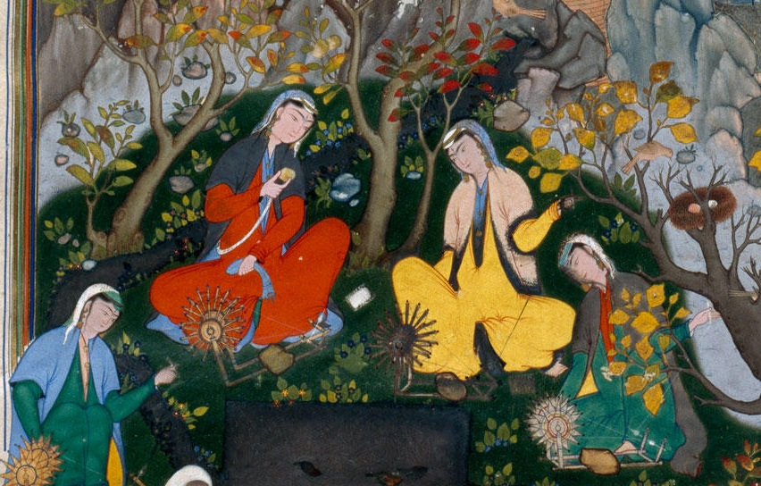 The story of Haftvad and the worm, folio from Shahnameh of Shah Tahmasp -Tabriz  Iran detail