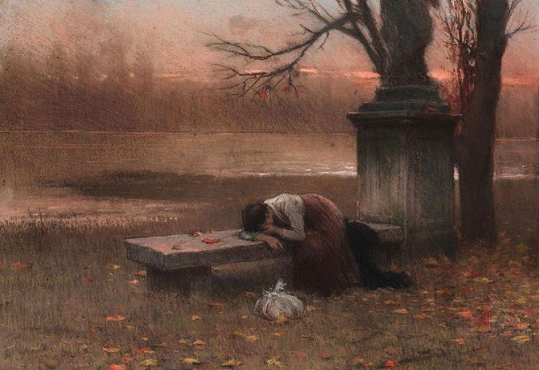 jakub-schikaneder-1855-1924-immersed-in-thought-lonely-1890