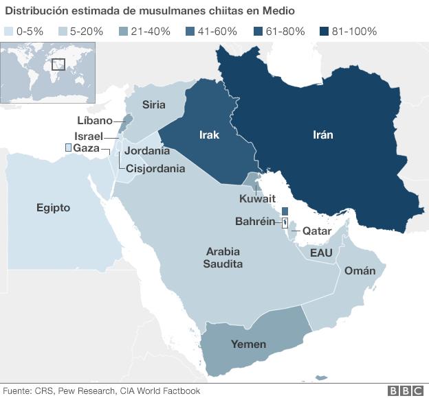 Shia population -mid east map