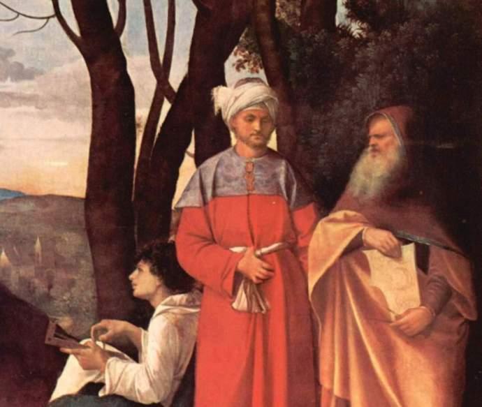 Giorgione -Los tres filósofos detail