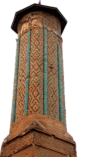 Konya -Octogonal minaret with torquoise relief from Seljuk time
