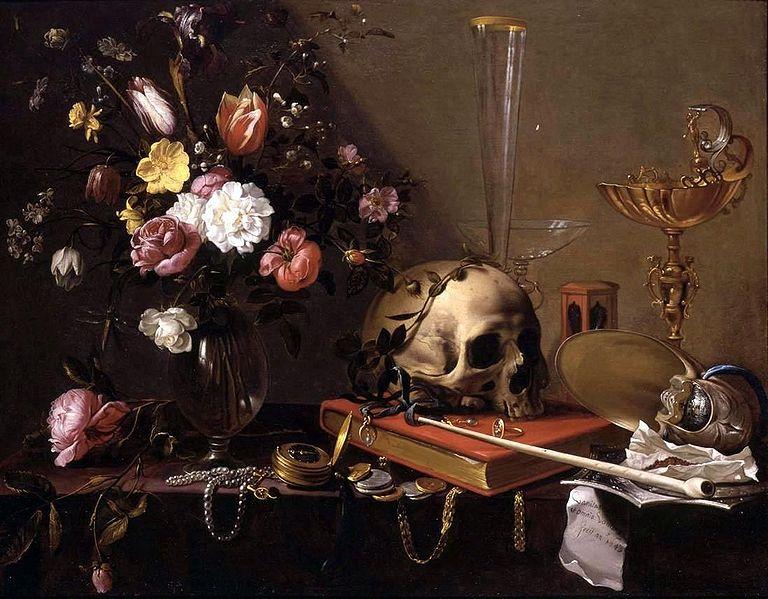 Adriaen van Utrecht -Vanitas. Still Life with bouquet and skull 1643