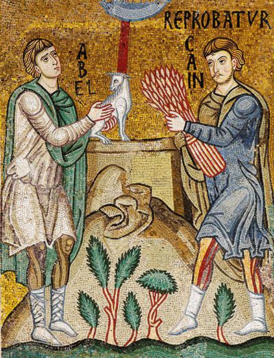 Abel y Caín, mosaico del siglo XII, Capilla Palatina, Palermo