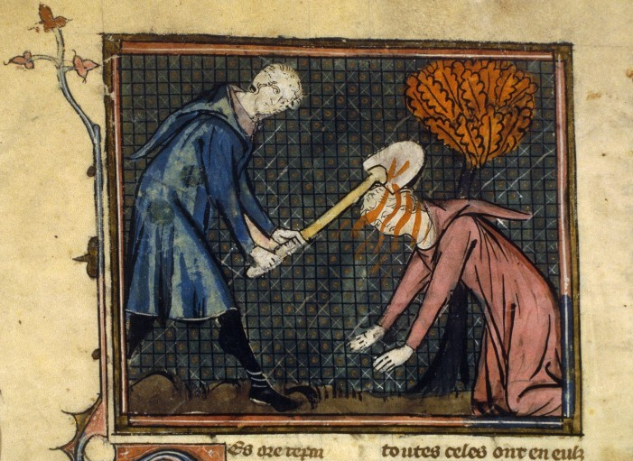 Cain slays Abel, History of the Holy Grail (BNF Fr. 105, fol. 65v), first half of the 14th century