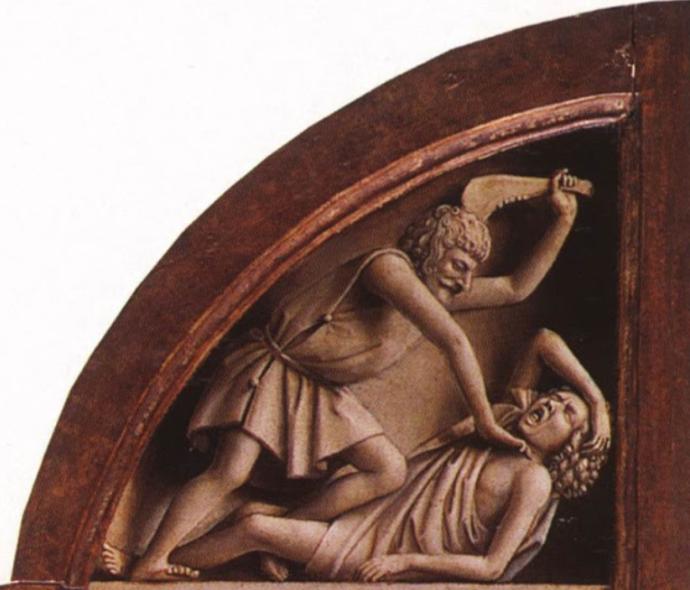 Van Eyck -Tríptico de San Bavón en Gante -Asesinato de Abel