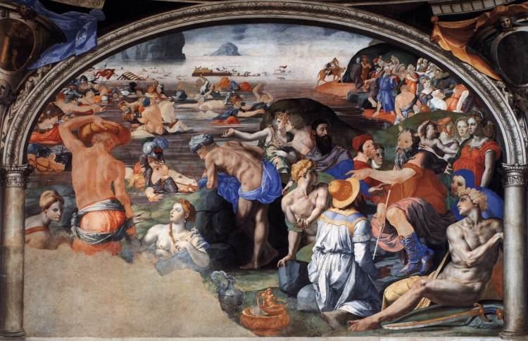Agnolo Bronzino fresco-Capilla de Eleonora -Crossing the read sea Palazzo Vecchio Firenze