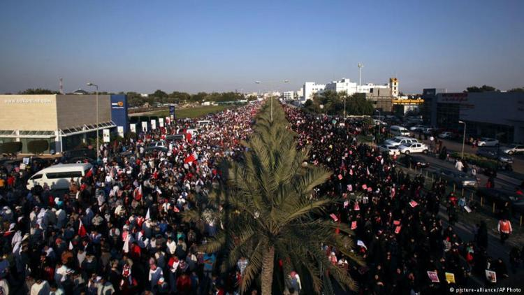 Protests in Bahrain are attended by up to a quarter of the island state's population