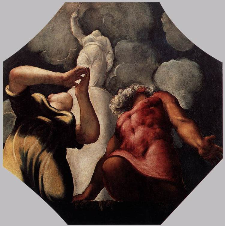 Tintoretto -Deucalion and Pyrrha praying before the statue of the goddess Themis, ca.1542 Modena