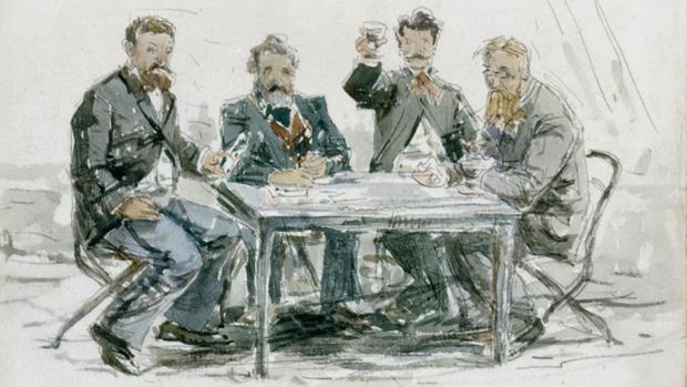 Boudin -Les buveurs à la ferme St. Simeon Jongkind, Van Marcke, Monet y el padre Achard, acuarela 1862