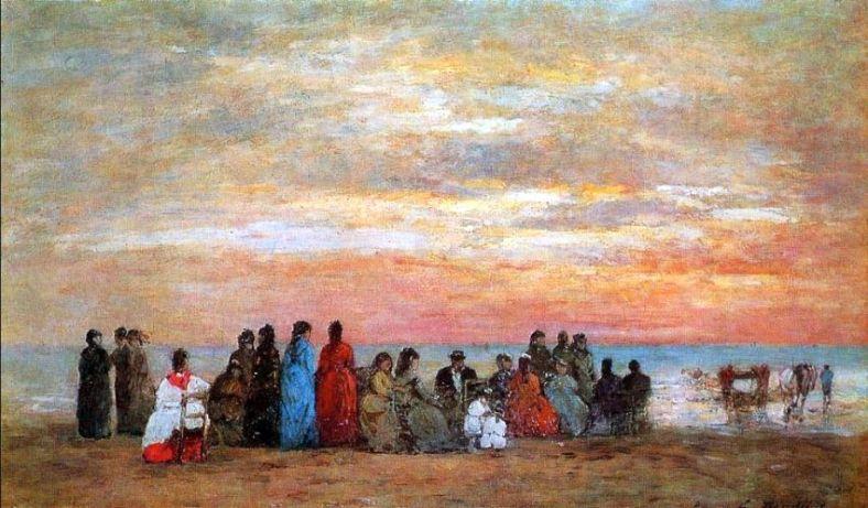 Boudin -Personnages sur la plage à Trouville, soleil couchant 1869