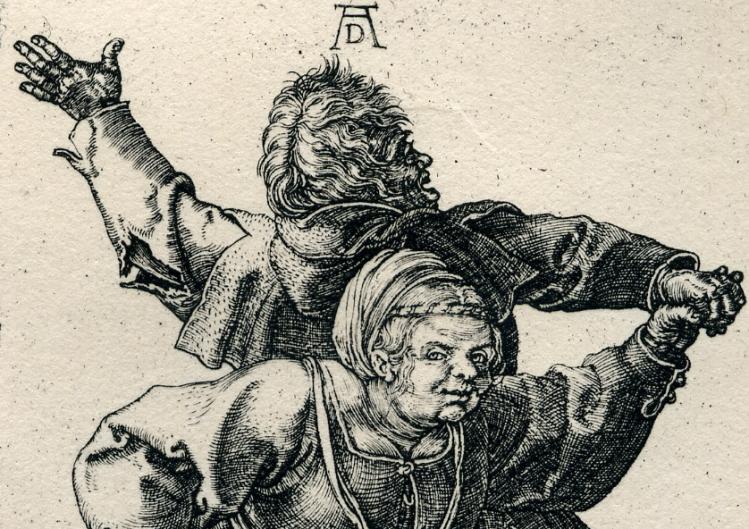 Dürer -Peasant Couple Dancing detail 1514.jpg