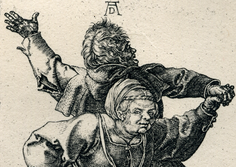 Dürer -Peasant Couple Dancing detail 1514.jpg
