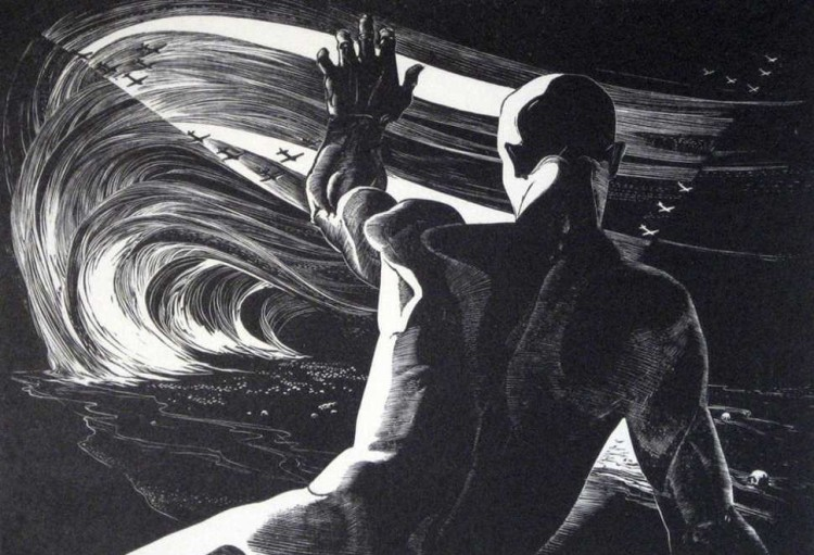 leon gilmour -let the living rise 1937 wood engraving