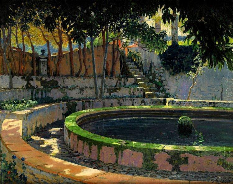 Santiago Rusiñol -Jardín y alberca de Son Moragues del Archiduque Luis Salvador de Austria Mallorca 1903