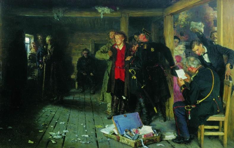 Iliá Repin -Arrest of a Propagandist 1880-89