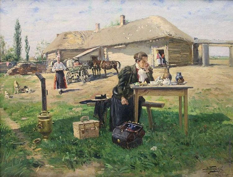 Vladimir Makovsky -Teacher visiting a village 1896-97