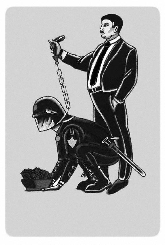 policía rastrero con poderoso