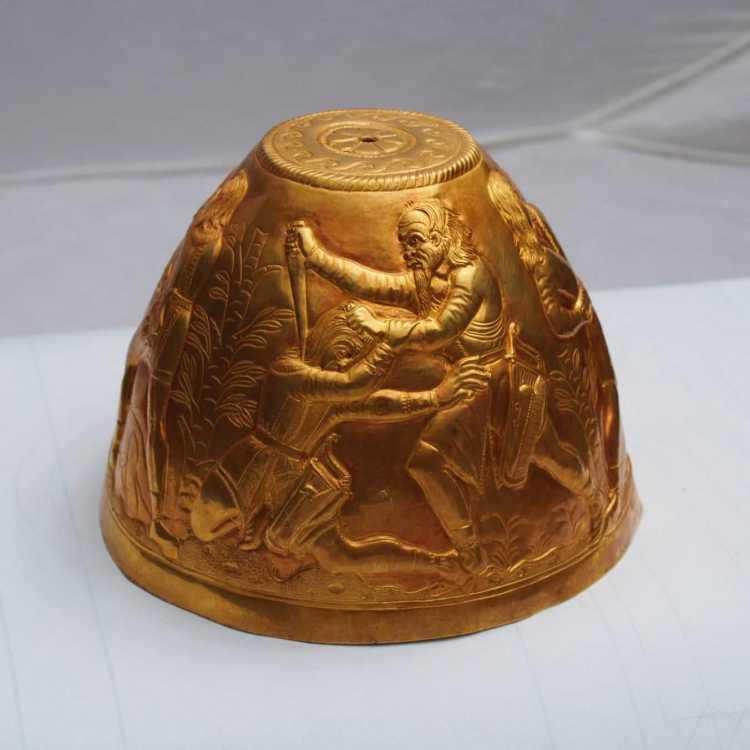 Greco-Scythian gold vessel unearthed in Scythian Tomb used in consumption of opium and cannabis.