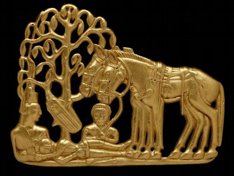 Scythians with horses under a tree. Gold belt plaque. Siberia s. IV-III b.C.