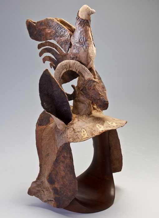 Testera escita utilizada como protección para la cabeza de un caballo. Montículo 1, Pazyryk, Altái s. IV a. C.